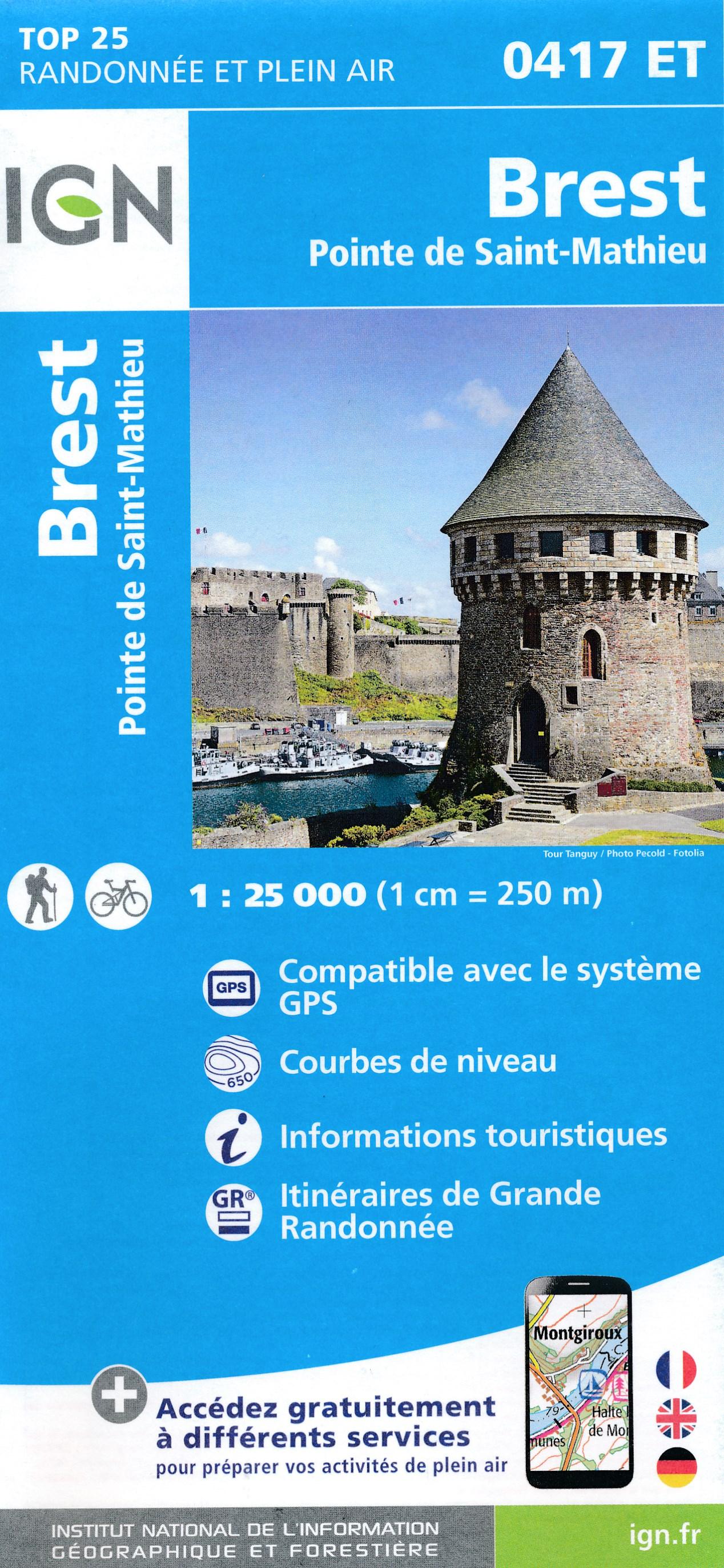 Wandelkaart - Topografische kaart 0417ET Brest, Pointe de St.Mathieu, St.-Renan, Le Conquet, Guipavas | IGN