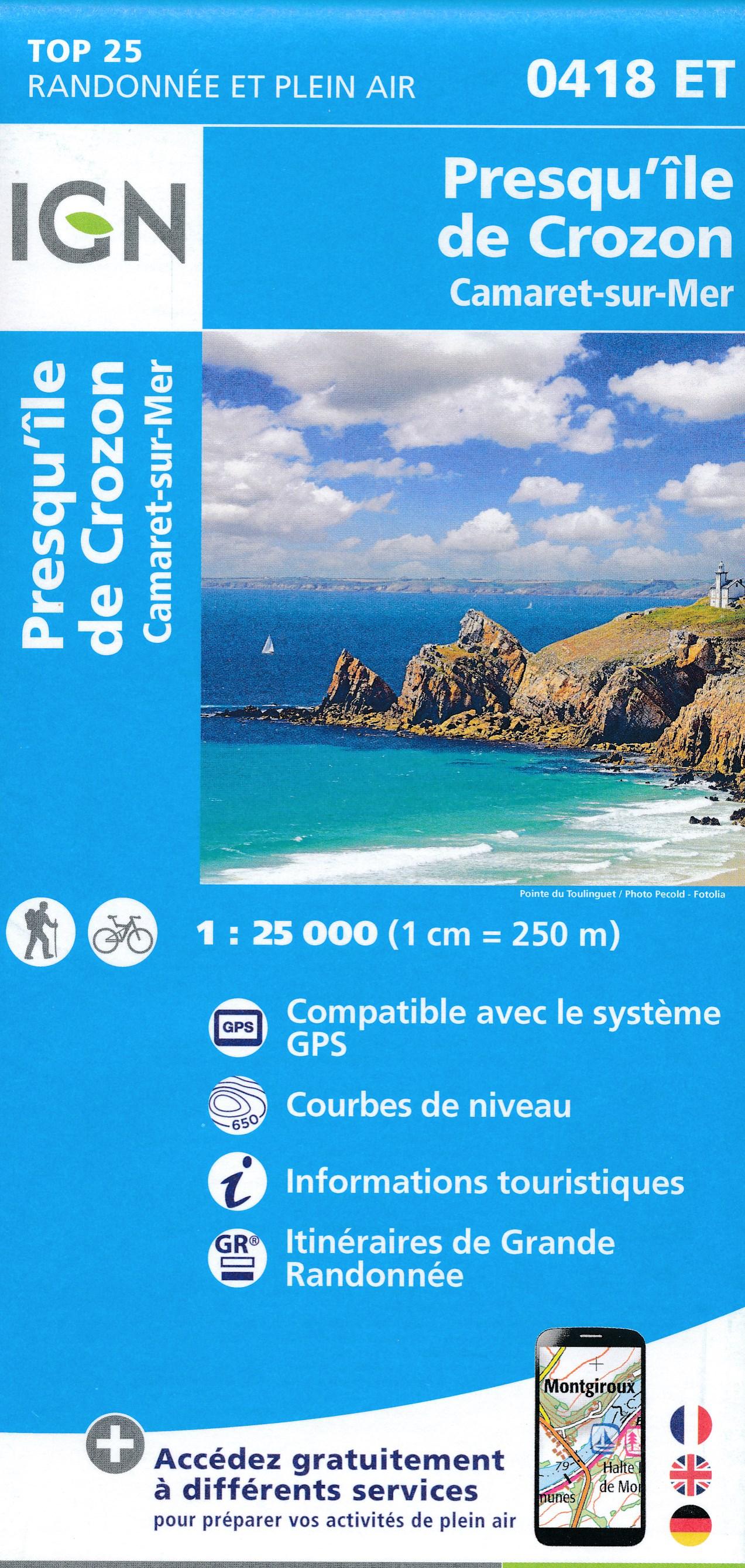 Wandelkaart - Topografische kaart 0418ET Camaret, Presqu'Île de Crozon, Morgat | IGN