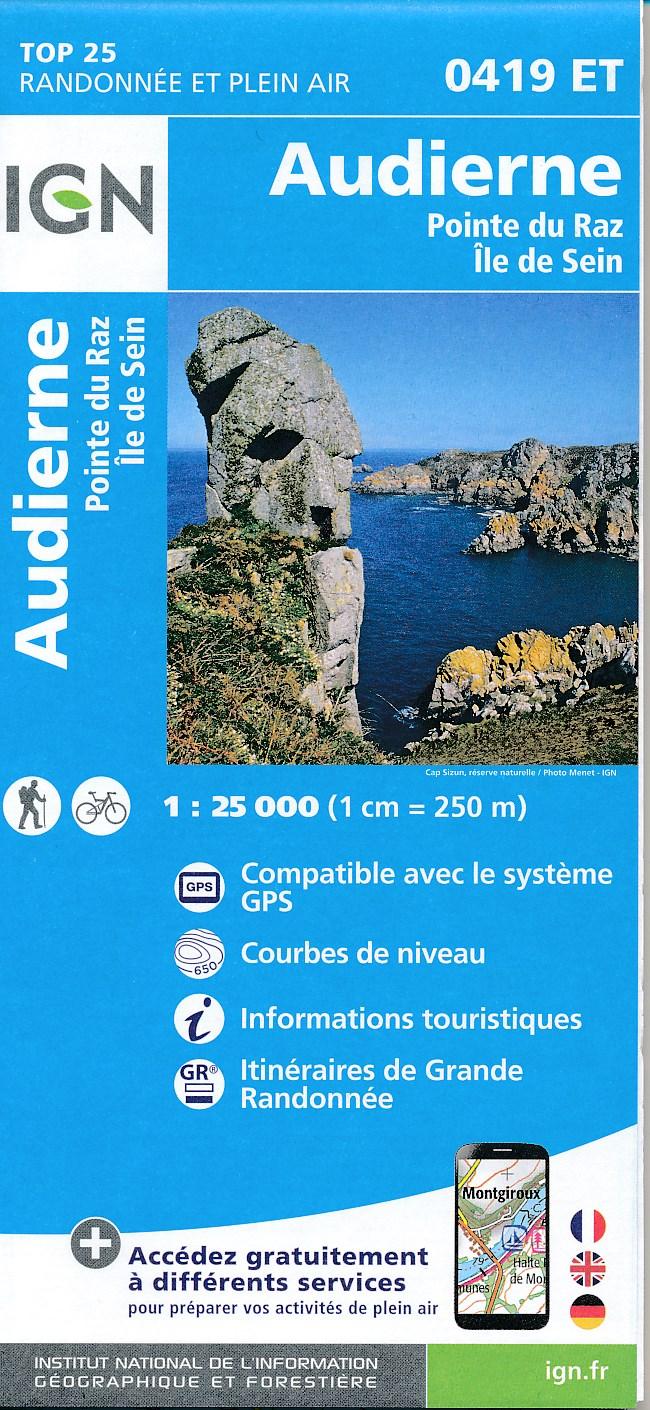 Wandelkaart - Topografische kaart 0419ET Audierne, Pointe du Raz, Pont-Croix,Plouhinec, Plozévet | IGN