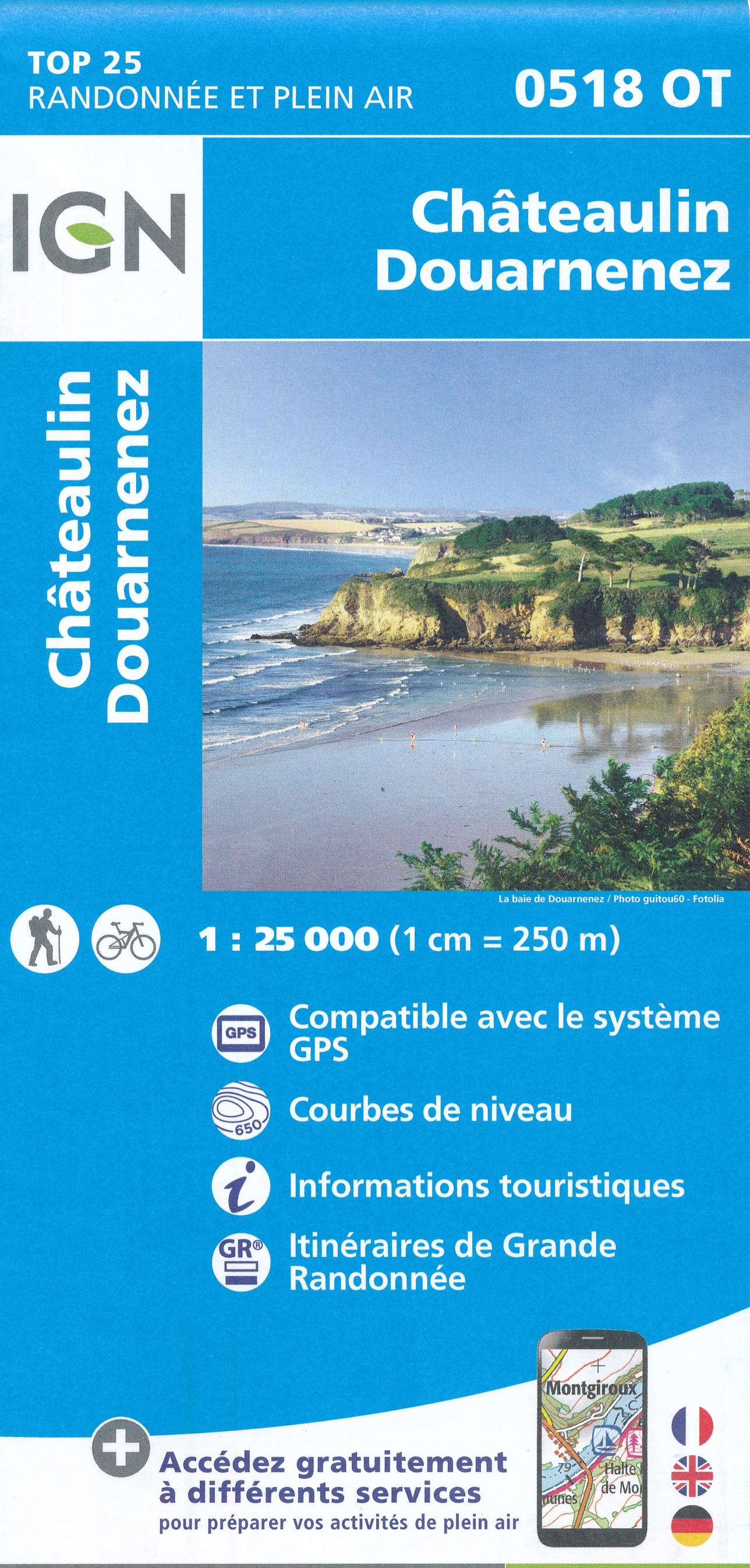 Wandelkaart - Topografische kaart 0518OT Chateaulin, Douarnenez, Locronan, Ménez Hom, Le Faou | IGN