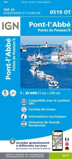Wandelkaart - Topografische kaart 0519OT Pont l Abbé, Pointe de Penmarc h, Plogastel-St.-Germain, Plonéour-Lanvern | IGN