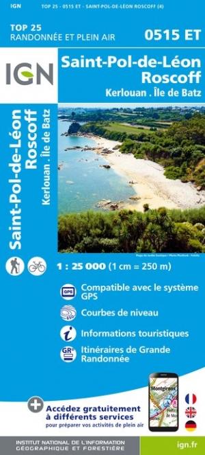 Wandelkaart - Topografische kaart 0515ET St.Pol-de-Léon, Roscoff, Brignogan-Plage, Plouescat, Cléder Bretagne | IGN