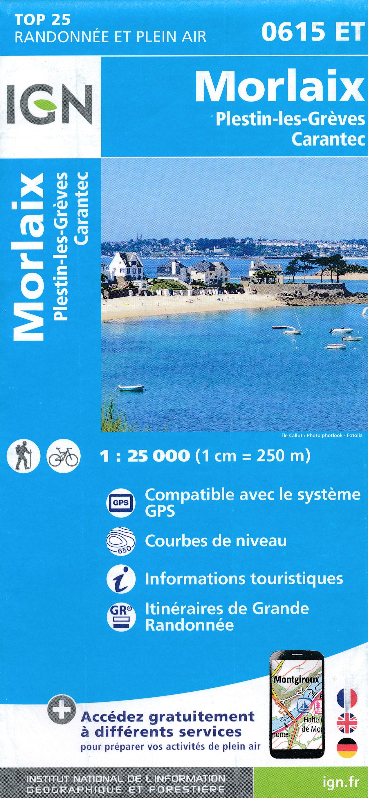 Wandelkaart - Topografische kaart 0615ET Morlaix, Lanmeur, Plougasnou, Taule, Plestin-les-Greves | IGN