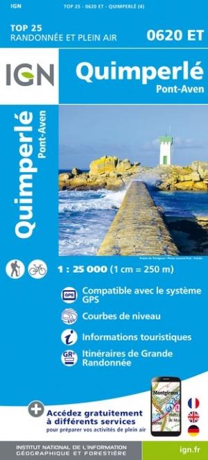 Wandelkaart - Topografische kaart 0620ET Quimperlé, Pont-Aven, Tregunc, Bannalec, Clohars-Carnoët | IGN