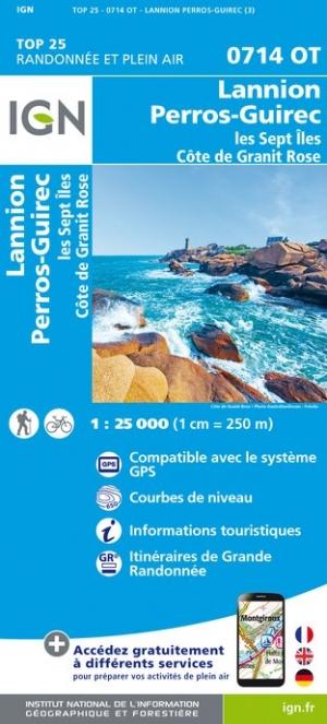 Wandelkaart - Topografische kaart 0714OT Perros-Guirec, Lannion, Trégastel-Plage, Trébeurden, Côte de Granit Rose | IGN