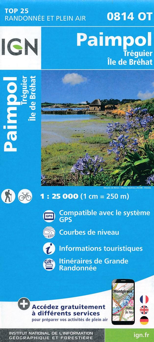 Topografische kaart - Wandelkaart 0814OT Paimpol, Pleubian, île de Bréhat, Tréguier, Ploubazlanec, Plouézec | IGN