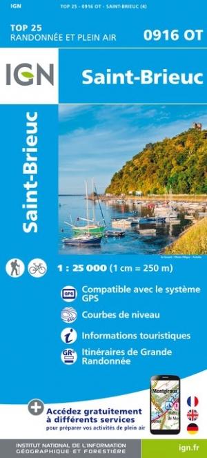 Wandelkaart - Topografische kaart 0916OT Saint-Brieuc | IGN
