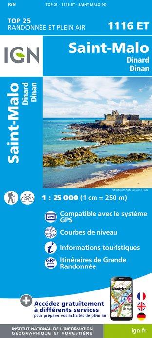 Wandelkaart - Topografische kaart 1116ET Saint-Malo - Dinard - Dinan - Rothéneuf - Cancale - Châteauneuf-d'ille-Vilaine | IGN