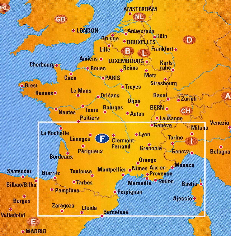 Wegenkaart Landkaart 3 Frankrijk Zuid Anwb Media
