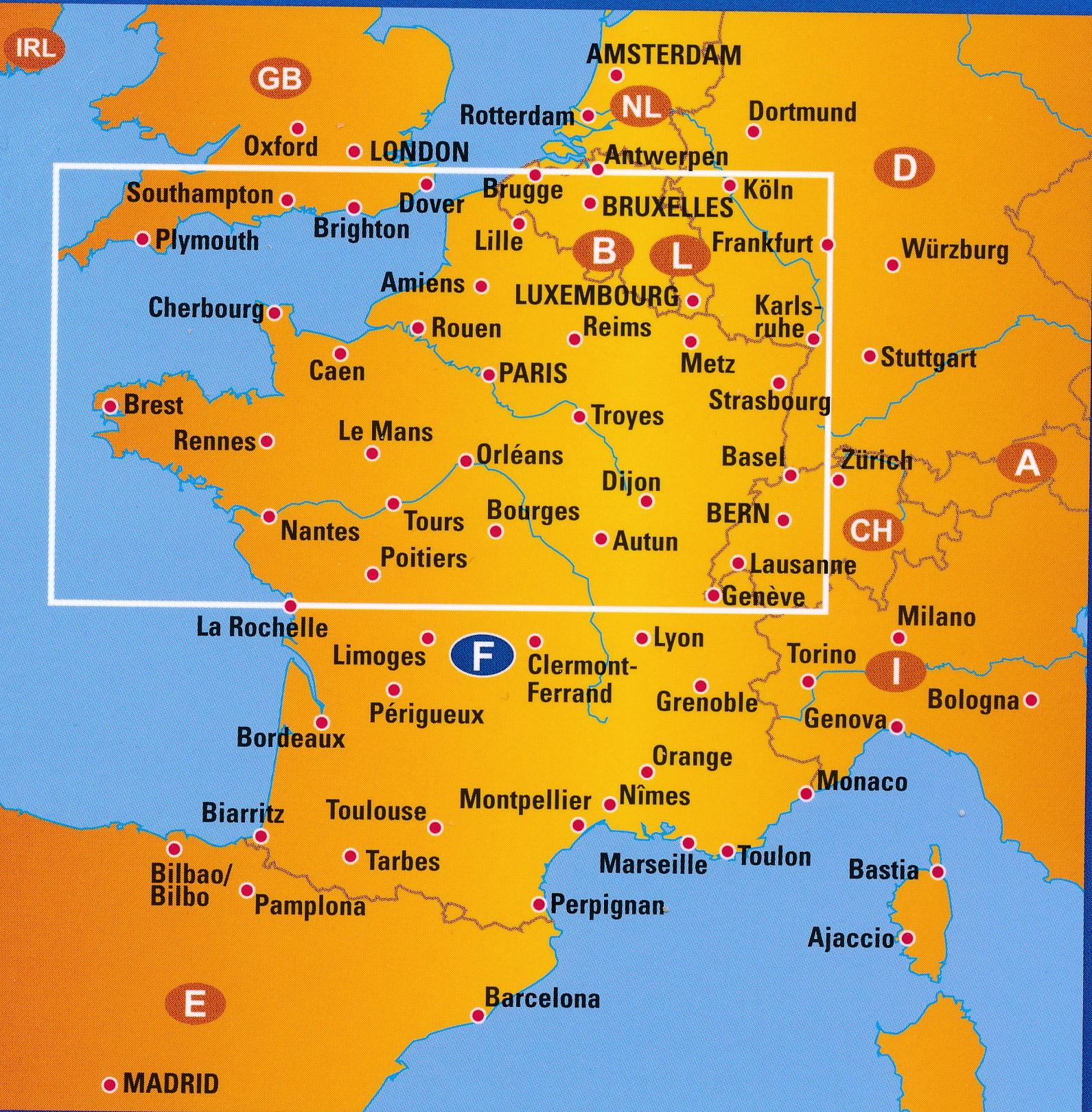 Wegenkaart Landkaart 2 Frankrijk Noord Anwb Media
