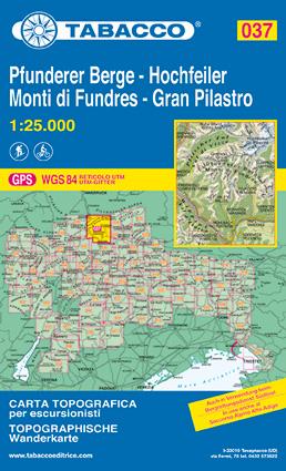 Wandelkaart Tabacco 037 Gran Pilastro Monti Di Fundres Hochfeiler Pfunderer Berge Dolomieten Tabacco kopen