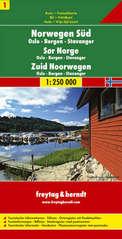 Wegenkaart Landkaart 01 Noorwegen Zuid Oslo Bergen Stavanger | Freytag Berndt |