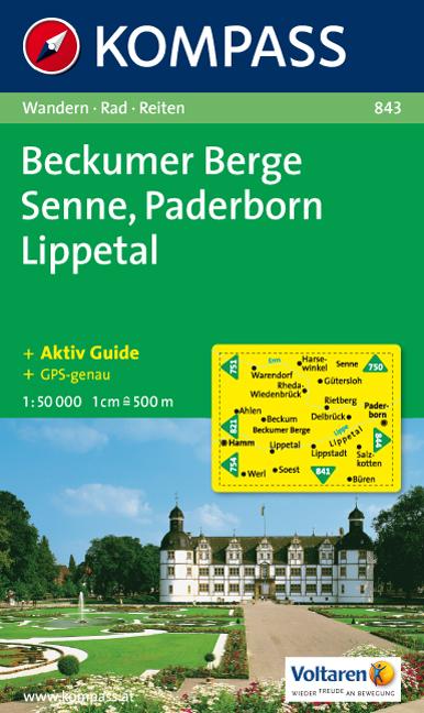 Wandelkaart 843 Beckumer Bergesennepaderbornlippetal Kompass kopen