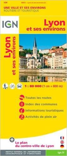 Wegenkaart - landkaart - Fietskaart - Stadsplattegrond Lyon | IGN