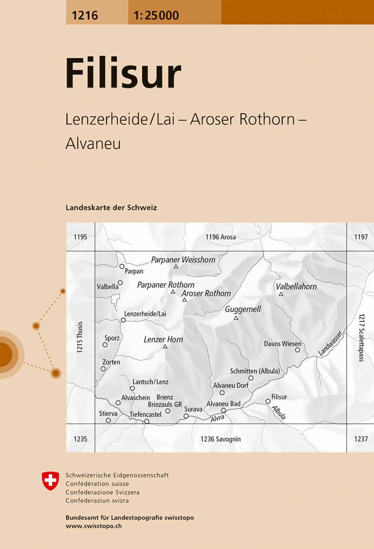 Wandelkaart - Topografische kaart 1216 Filisur | Swisstopo