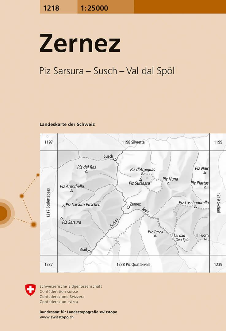 Wandelkaart - Topografische kaart 1218 Zernez | Swisstopo