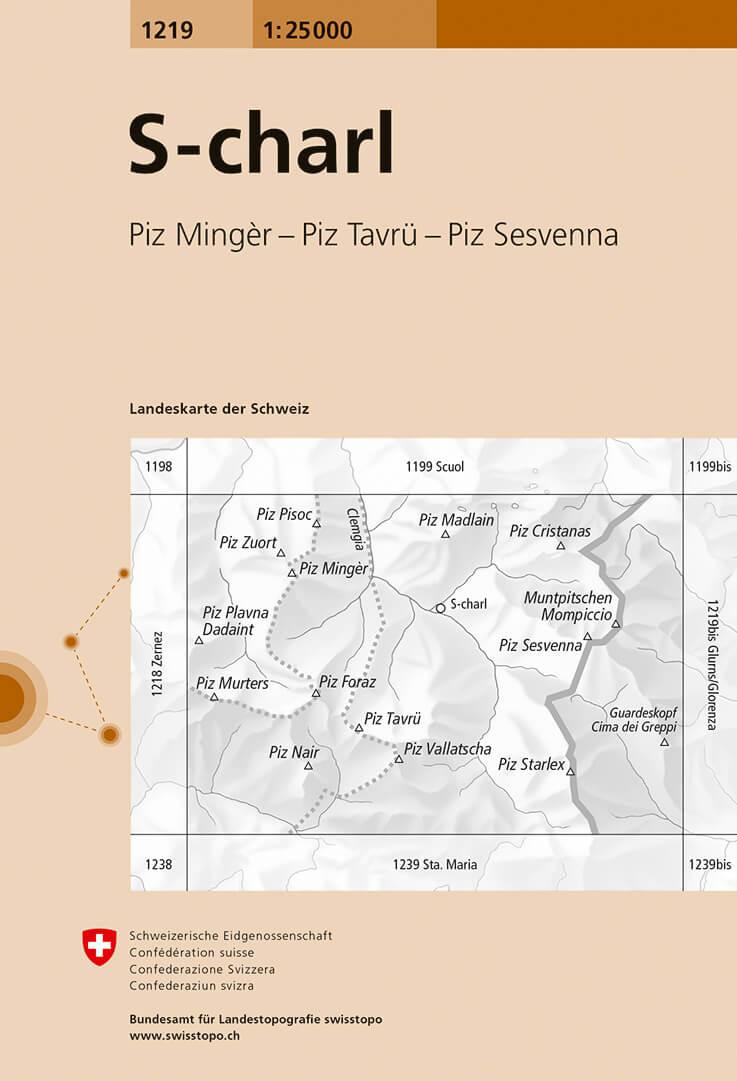 Wandelkaart - Topografische kaart 1219 S-charl | Swisstopo