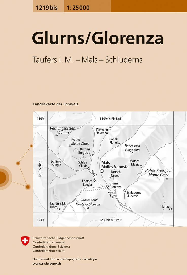 Wandelkaart - Topografische kaart 1219bis Glurns/Glorenza | Swisstopo