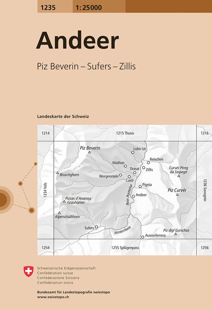 Wandelkaart - Topografische kaart 1235 Andeer | Swisstopo
