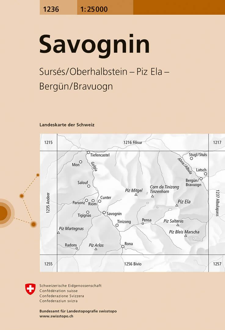 Wandelkaart - Topografische kaart 1236 Savognin | Swisstopo