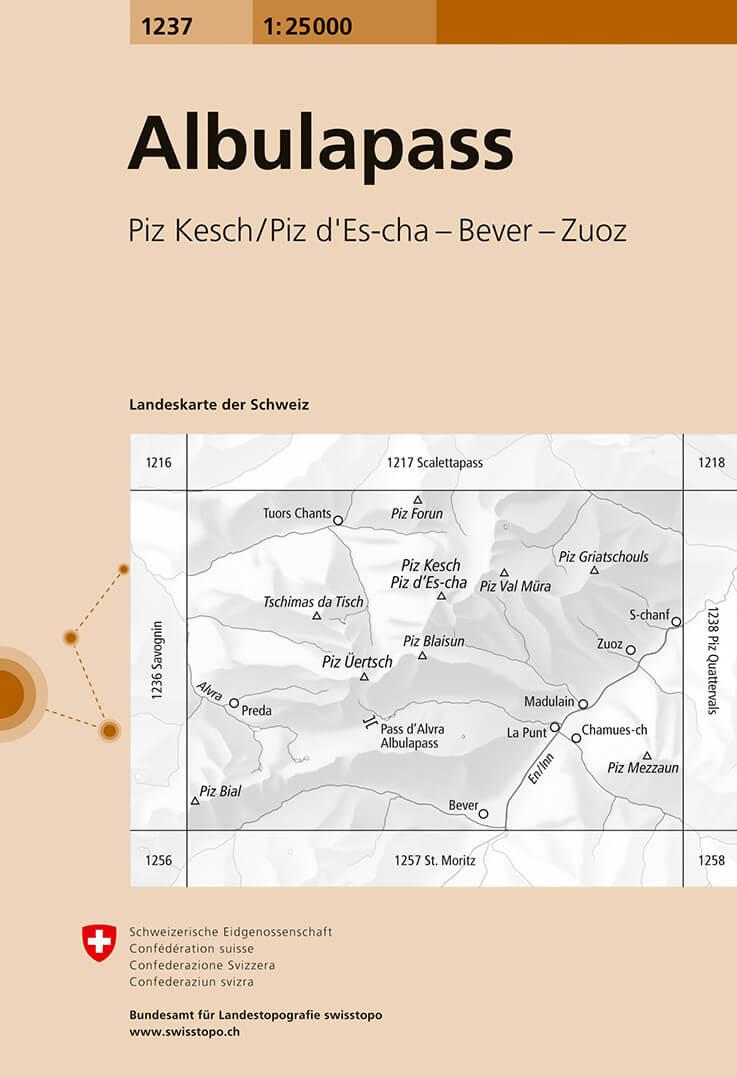 Wandelkaart - Topografische kaart 1237 Albulapass | Swisstopo