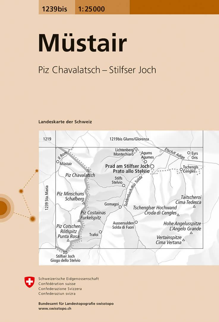 Wandelkaart - Topografische kaart 1239bis Müstair | Swisstopo