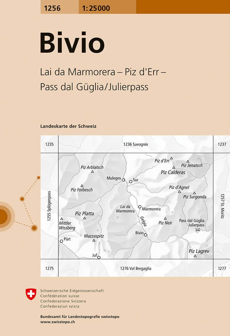 Wandelkaart - Topografische kaart 1256 Bivio | Swisstopo