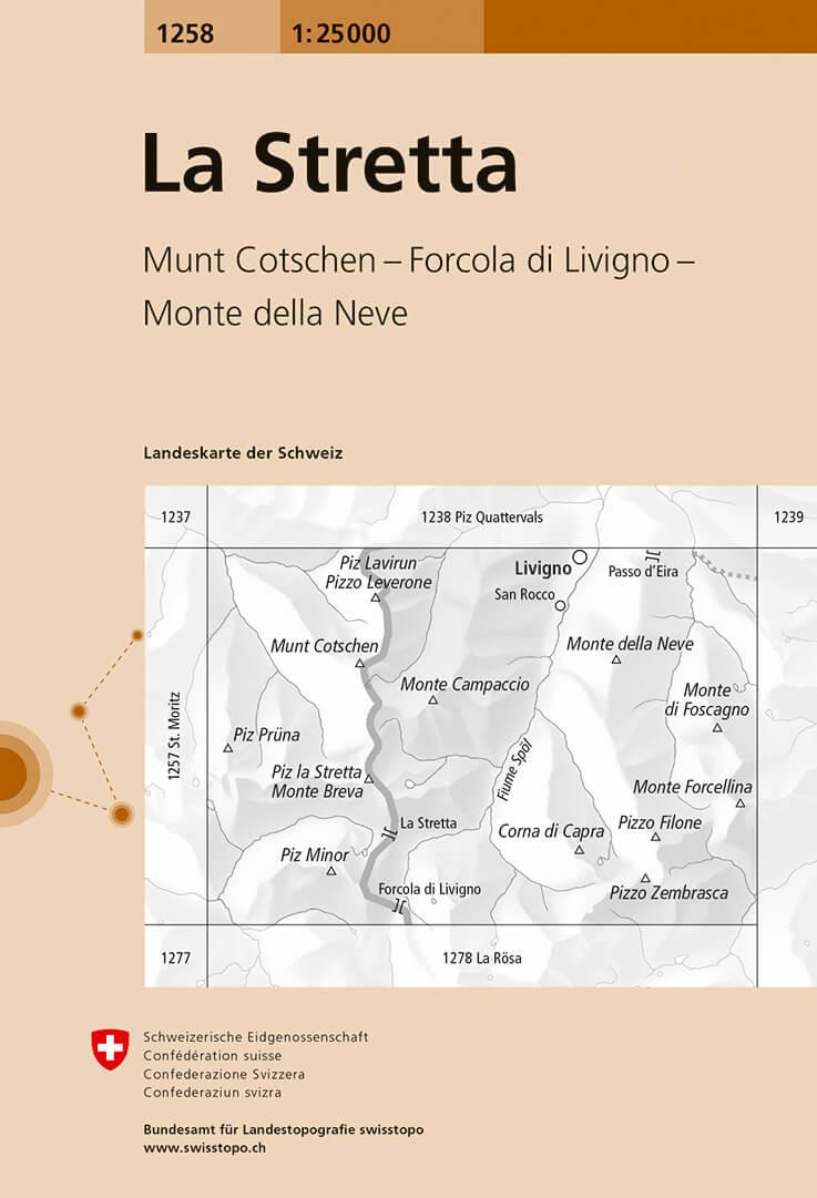 Wandelkaart - Topografische kaart 1258 La Stretta | Swisstopo