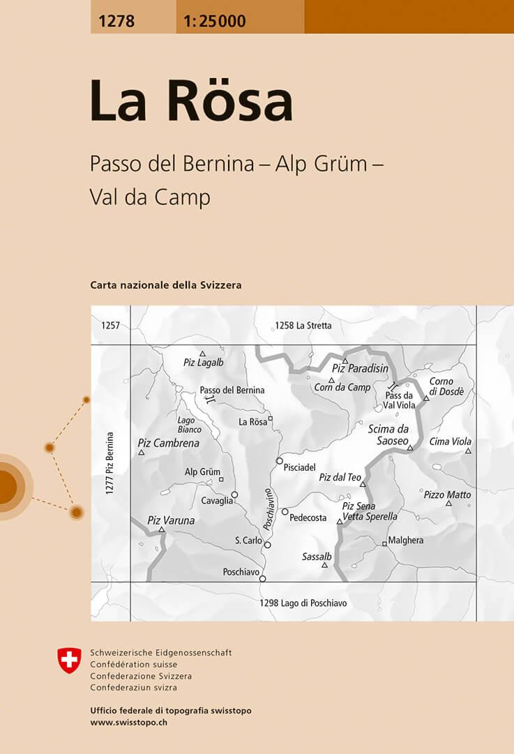 Wandelkaart - Topografische kaart 1278 La Rösa | Swisstopo