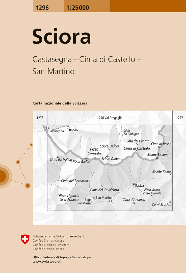 Wandelkaart - Topografische kaart 1296 Sciora | Swisstopo