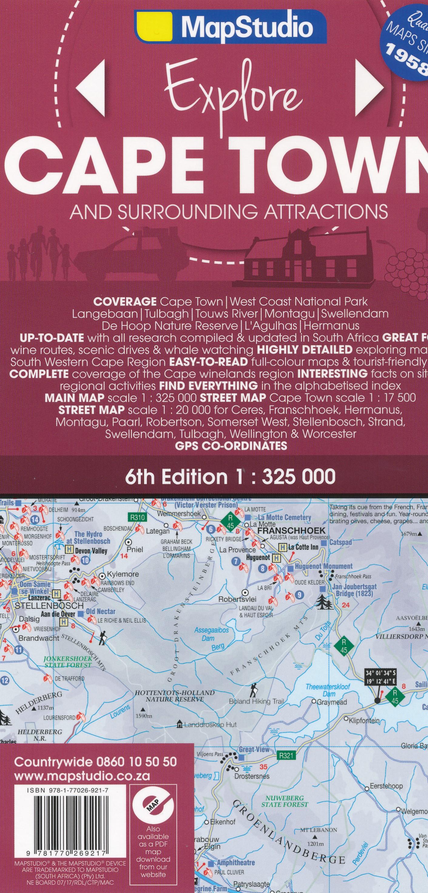 Wegenkaart - landkaart 01 Kaapstad - Cape Town and Surrounding Attractions | MapStudio
