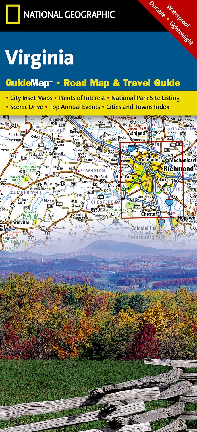 Wegenkaart - landkaart Guide Map Virginia | National Geographic