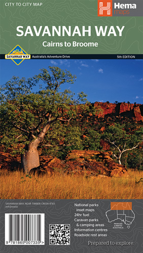 Wegenkaart - landkaart Cairns to Broome on the Savannah Way | Hema Maps