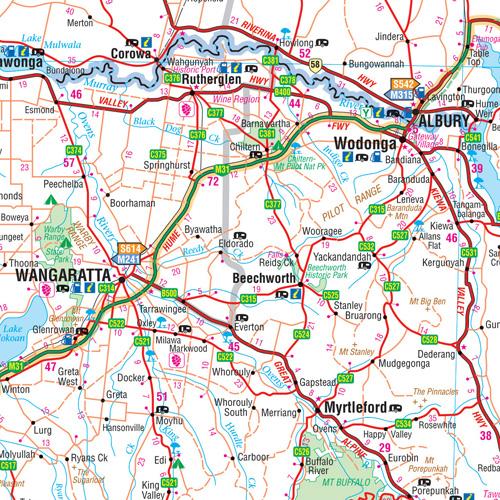 Wegenkaart Landkaart Melbourne To Sydney Hema Maps