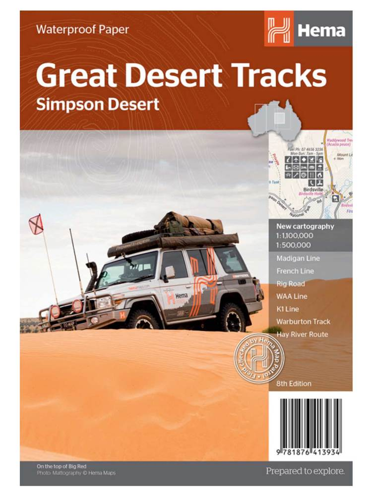 Wegenkaart - landkaart Simpson Desert - Simpson woestijn | Hema Maps