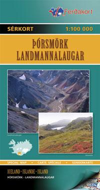 Wandelkaart 7 Touring map Porsmörk - Landmannalaugar IJsland   Ferdakort