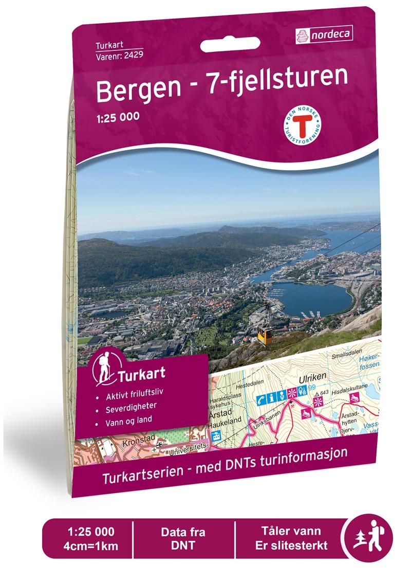 Wandelkaart 2429 Turkart Bergen - 7-fjellsturen | Nordeca