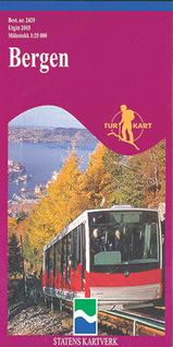 Wandelkaart 2429 Bergen Osterøy Meland Fjell Askøy, Topografische Kaart Turkart Noorwegen | Statens Ugland It |
