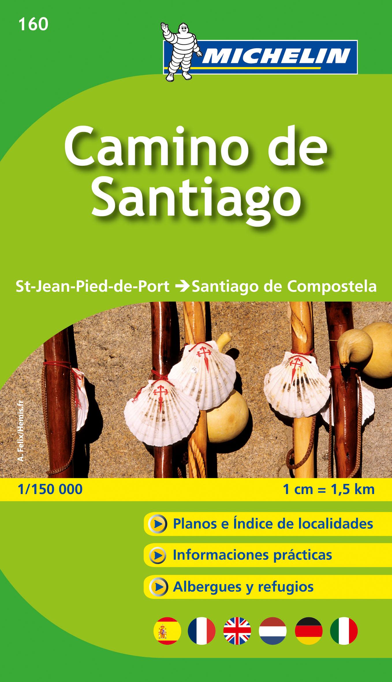 Wandelgids - Pelgrimsroute (kaart) 160 Camino de Santiago | Michelin