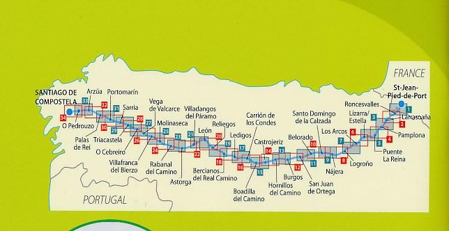 Pelgrimsroute Kaart Wandelkaart 160 Camino De Santiago