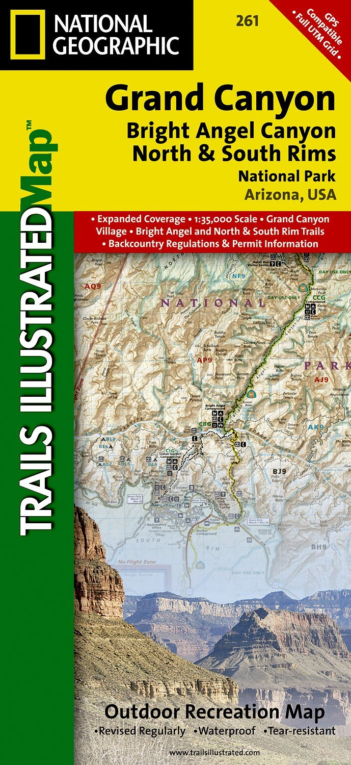 Wandelkaart Topografische kaart 261 Trails Illustrated Grand Canyon Bright Angel Canyon and North South Rims | National Geographic