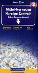 Wegenkaart Autokaart Landkaart Midden Noorwegen Mittel norwegen, Oslo, Bergen, Alesund No. 2 | Cappelen Kart Kümmerley Frey 1032 |