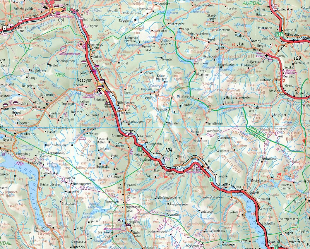 Wegenkaart Landkaart 2 Mittel Norwegen Oslo Bergen Alesund