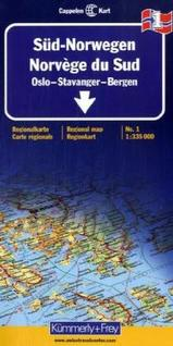 Wegenkaart Autokaart Landkaart Zuid Noorwegen Sud norwegen Oslo Stavanger Bergen No. 1 | Cappelen Kart Kümmerley Frey 1031 |