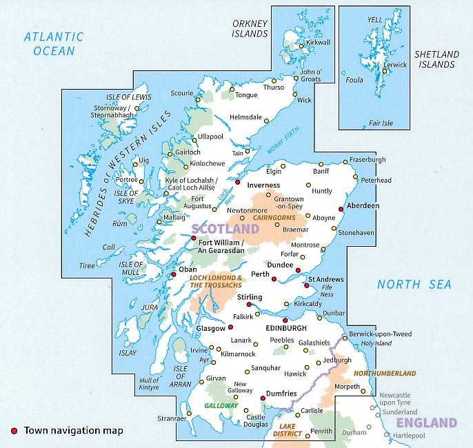 Wegenkaart Landkaart 12 Tour Map Scotland Ordnance Survey