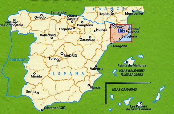 Wegenkaart Landkaart 147 Barcelona Y Alrededores Costa Brava