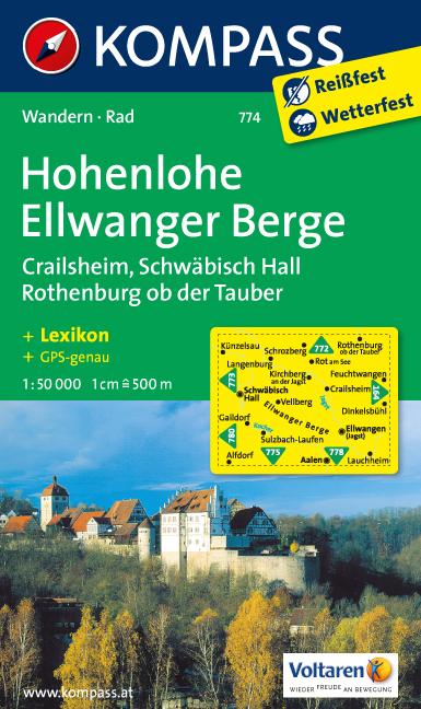 Wandelkaart 774 Hohenloheellwanger Berge Kompass kopen