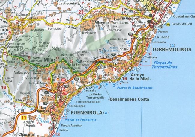 Wegenkaart Landkaart 124 Costa Del Sol Zoom Michelin