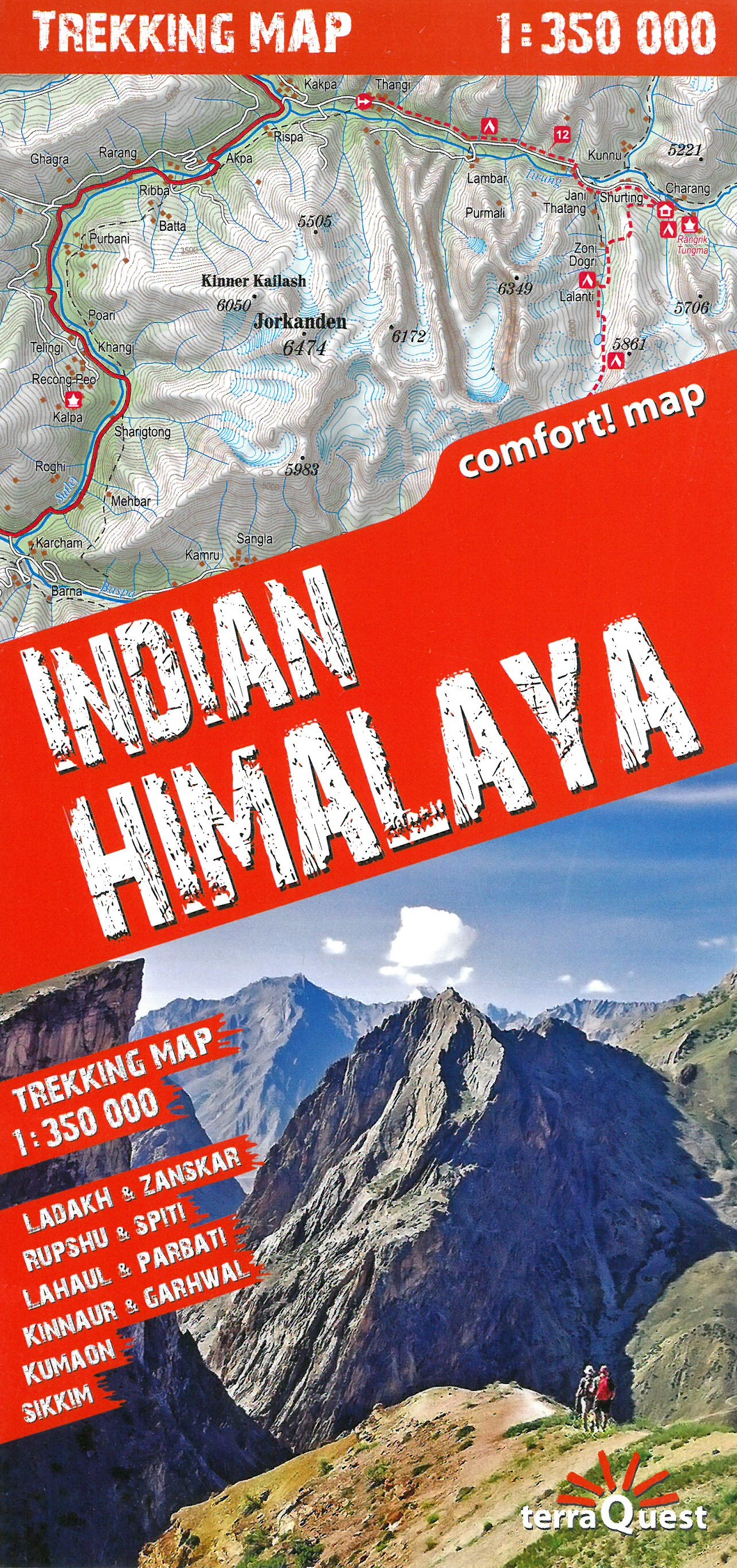 Wandelkaart Trekking map Indian Himalaya | TerraQuest