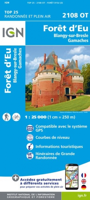 Wandelkaart - Topografische kaart 2108OT Foret d'Eu, Blangy-sur-Bresle, Gamaches | IGN